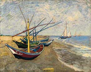 Van Gogh painting Fishing Boats on the Beach