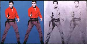 Andy Warhol silkscreen painting Elvis I and II