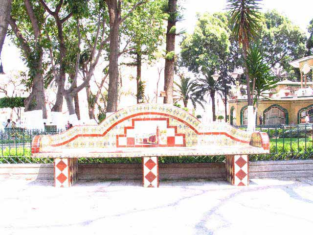 Giancoli photograph Talavera Tile Bench