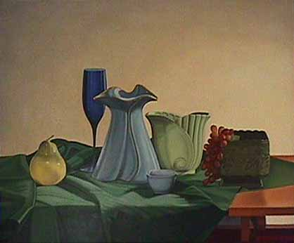 Laura SHECHTER painting Blue Wine Glass
