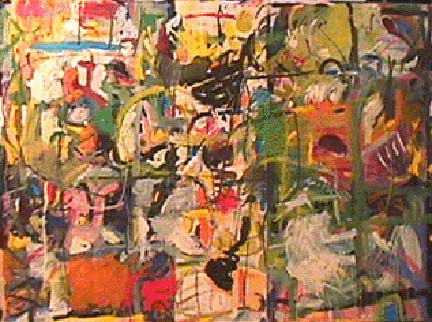 Lynne Frehm large abstract painting Search & Rescue