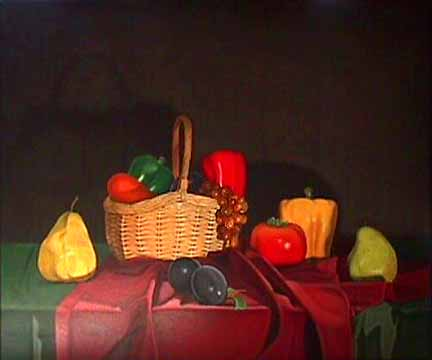 Laura SHECHTER painting Still Life with Basket