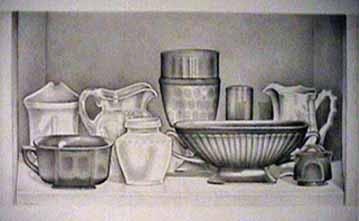 Laura SHECHTER silverpoint drawing Bottom Shelf