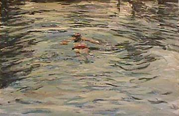 Debora Gilbert Ryan painting The Swimmer