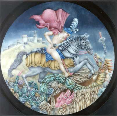 Gary Slipper mixed media St. George and the Dragon (Tondo)
