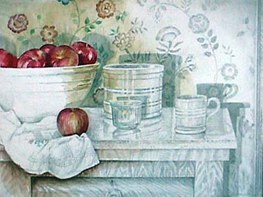 Joan Berg Victor realist drawing Still Life with Apples and Ceramics
