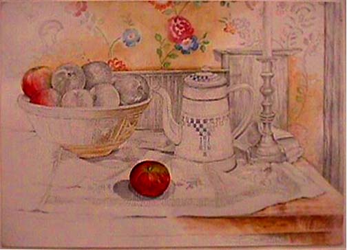 Joan Berg Victor realist drawing Still Life with Apples and Coffee Pot