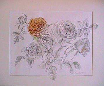 Joan Berg Victor flower drawing Bouquet of Roses