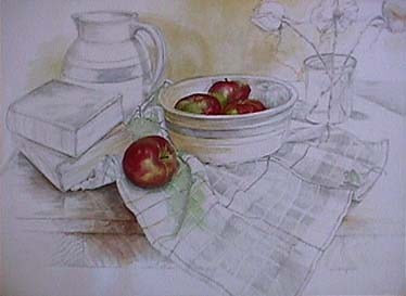 Joan Berg Victor realist drawing Still Life with Apples, Books and Roses