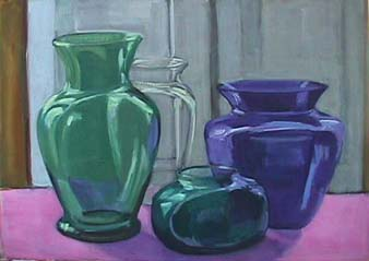 Kate Wattson still life Four Vases