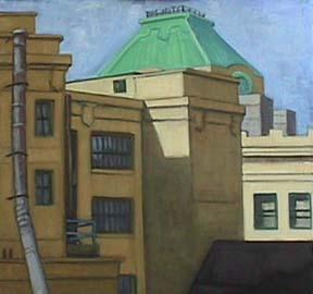 Kate Wattson urban painting Dumbo Rooftops