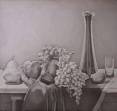 Laura SHECHTER drawing Still Life with Grapes
