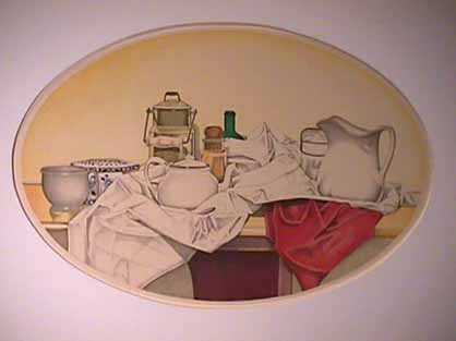 Laura SHECHTER original lithograph Objects on a Draped Cloth