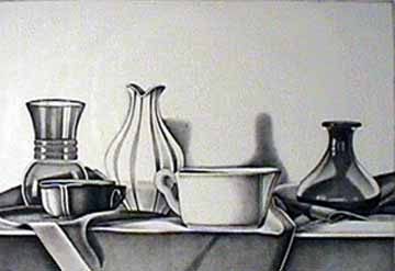 Laura SHECHTER lithograph Still Life on Red Velvet Cloth