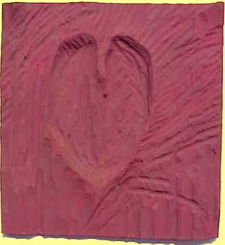 Nancy Azara wood carved panel Pink Heart