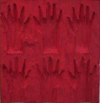 Nancy Azara wood carved panel 6 Hands