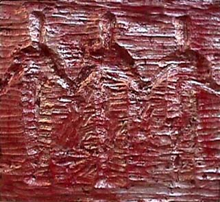 Nancy Azara wood carved panel 3 Figures