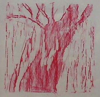 Nancy Azara oilstick rubbing Red Tree