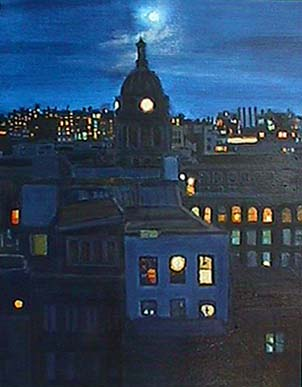 Patricia Hansen night cityscape painting Harvest Moon