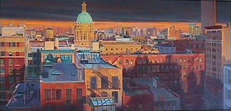 Patricia Hansen cityscape painting Police Building Sunset