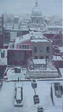 Patricia Hansen cityscape painting City in Snow