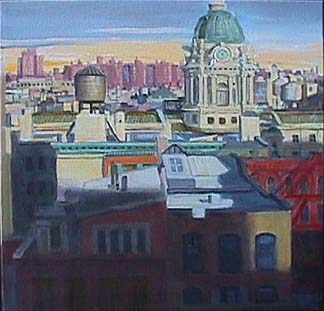 Patricia Hansen cityscape painting Afternoon in Little Italy