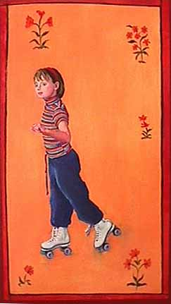 Patricia Hansen painting of young girl Skater