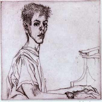 Sigmund Abeles etching Max at the Piano