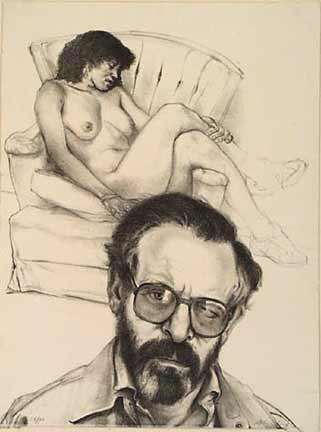 Sigmund Abeles figurative lithograph Self Portrait with Glasses & Model