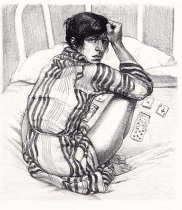Sigmund Abeles figurative lithograph Solitaire