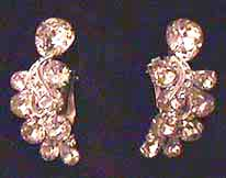 Eisenberg Crescent White Rhinestone Earrings
