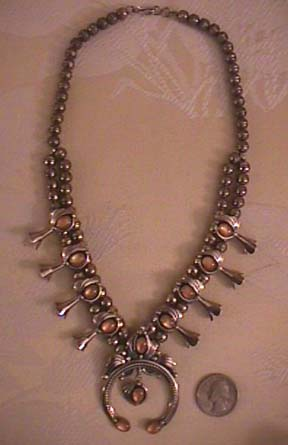 Navajo pink shell squash necklace