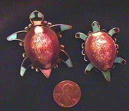 Zuni inlaid tortoise pins