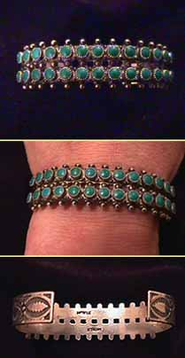 Zuni Indian Bracelet with Green Turquoise