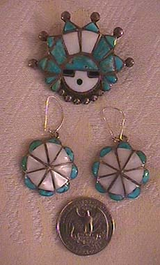 Zuni sunface pin and earrings