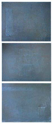 Todd Bellanca  silver abstract painting triptych MC-13