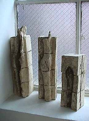 Tova Beck-Friedman clay sculpture Stelae Trio