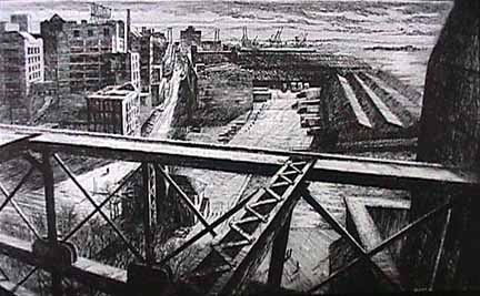 Bill Murphy etching From the Brooklyn Bridge