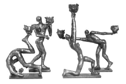 Carol Bruns bronze candlestick sculptures Dancers