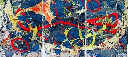 Garrison Buxton large abstract triptych painting Muon Wobble