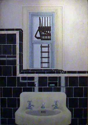 Bathroom West 12th Street watercolor painting James Burnett