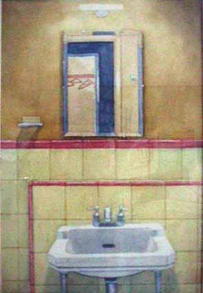 Bathroom Ecuador watercolor painting James Burnett