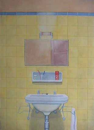 Hotel Bathroom New York watercolor painting James Burnett