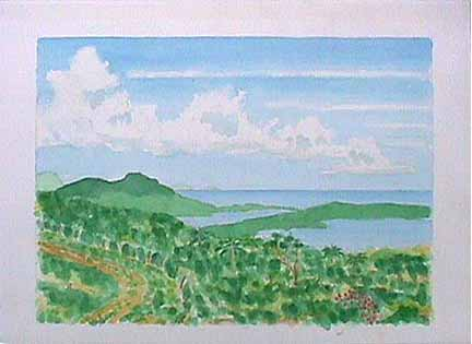 Cloud Bank Vieques watercolor painting James Burnett