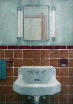 Bathroom Greenwich Village watercolor painting James Burnett