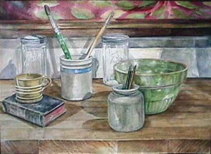 Joan Berg Victor realist watercolor Still Life with Brushes and Pens