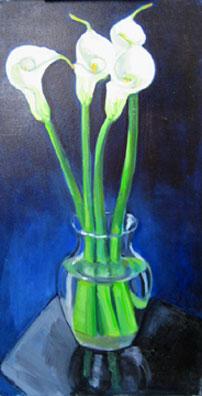 Kate Wattson still life floral Calla Lily Quartet