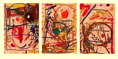 Lynne Frehm  abstract triptych Infrastructure