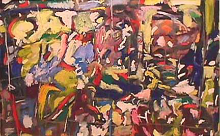 Lynne Frehm large abstract painting Perils of the Jungle