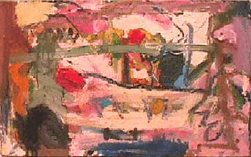 Lynne Frehm small abstract painting Skoda Farm